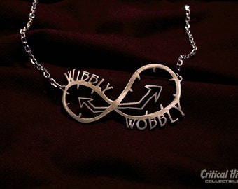 Wibbly Wobbly necklace in laser cut stainless steel - science fiction geekery Time Doctor inspired