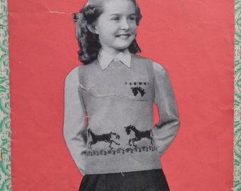Vintage Knitting Pattern 1940s Women Girls Pullover Trotting Horses Design 40s original pattern children sleeveless top Pennine Wools 446 UK