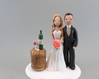 Cake Topper - Bride & Groom Custom Wine Wedding Theme