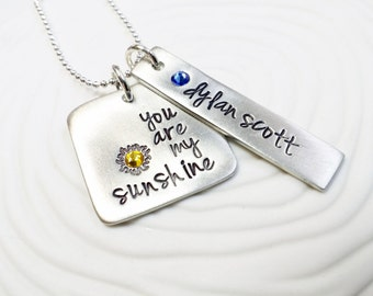 You Are My Sunshine - Hand Stamped, Personalized Necklace - Mother's Necklace- Gift for Mom - Mother's Gift - Birthstone Necklace