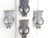 Owl Door Knocker, Distressed Gray, Autumn Decor, New Home, White Owl, Cottage Style, Silver Owl