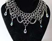 The Harlequin Stainless Steel Silver Chainmail Chainmaille choker necklace black white