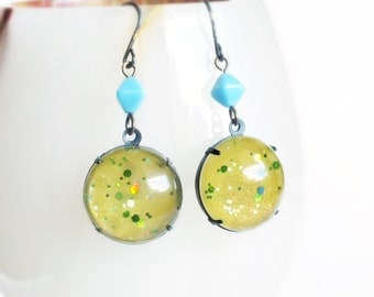 Lime Green Earrings Large Chunky Glitter Domed Glass Iridescent Green Earrings Nail Polish Jewelry