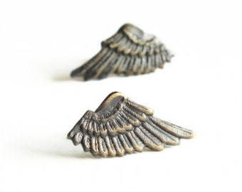 Black Wing Post Earrings Small Antiqued Brass Wing Studs Hypoallergenic Posts Wing Jewelry