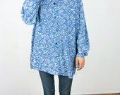 Blue Slouchy Patterned 80's Blouse