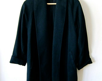 Avant Garde Black Wool 60's Overcoat