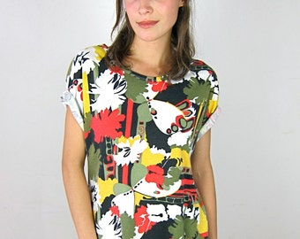 Colorful Patterned Cotton 80's T Shirt