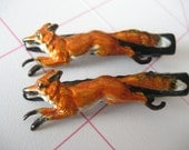 1 Hand-painted Red Fox Brass Stamping Hair Clip