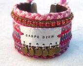 Carpe Diem friendship bracelet cuff, inspirational hand stamped cuff, seize the day, Swarovski cuff, tag bracelet, gypsy cuff, ethnic cuff