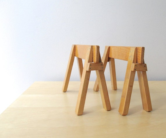 Miniature wooden sawhorse table legs farmhouse decor doll Sawhorse desk legs