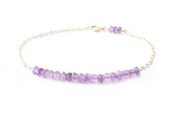 Minimalist Gemstone Gold Filled Chain Bracelet - Amethyst - Purple- The Skinny: Gemstone Bar