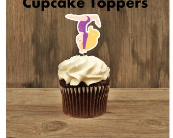 Gymnastics Friends- Set of 12 Blonde Purple Leotard Gymnast Cupcake Toppers by The Birthday House