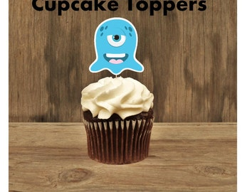 Little Monsters Party - Set of 12 Blue Monster Cupcake Toppers by The Birthday House