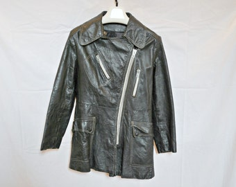 60s Leather Moto Jacket, Black, Easy Rider 1960s, Unisex, Mens XS Ladies S
