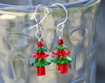 Fern green and siam red crystal Christmas tree earrings - sterling silver hooks - made w/ Swarovski crystals - free shipping USA