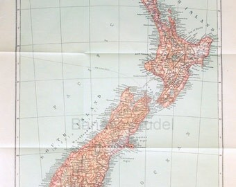 1911 Antique Map of New Zealand