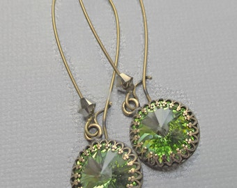 Peridot Green Crystal Earrings - August Birthstone Gift - Bridesmaid Gift - Spring Green Earrings - Prom Jewelry - BELLA Peridot