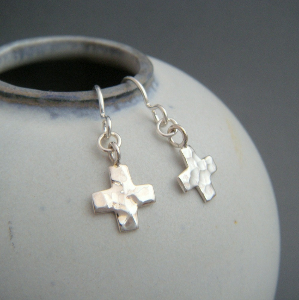 Tiny Hammered Cross Earrings. Sterling Silver Dangles