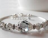Grey Crystal Bracelet Gray Bridesmaid Jewelry Swarovski Crystal Bracelets Beaded Wedding Jewelry Crystal Wedding Jewelry Bridesmaid Gift