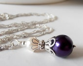 Bridesmaid Jewelry, Dark Purple and Ivory Pearl Pendant Necklace, 16 or 18 Inch Chain, Silver Plated or Sterling Silver, Bridesmaid Necklace