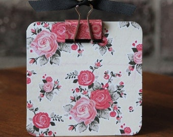 Post It Note Holder- Pink Roses