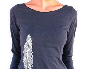 Womens Long Sleeve TShirt - Feather - American Apparel - 3/4 Sleeves - Boat Neck - small, medium, large, xl