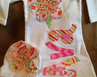 Personalized baby gown and hat, infant girl going home gown