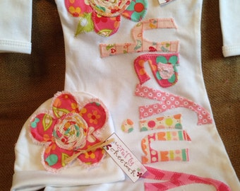 Personalized baby gown and hat