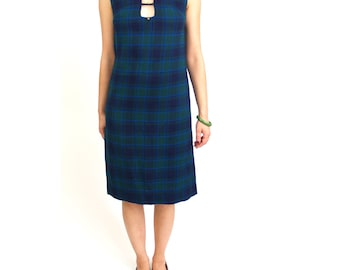 Gay Gibson plaid sleeveless shift dress jumper XS // vintage 60s 70s green blue navy // chest cut-out