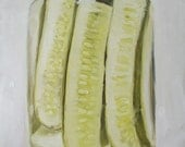 Big Clear Glass Jar, Green Lid, Chilled Dill Pickles, Original Painting by Clair Hartmann
