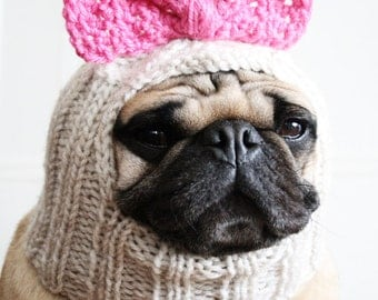 Betty Bow Dog Hat - Pug Hat - Dog Clothing - Pet Fashion - Pet Apparel - Handmade Dog Clothes - French Bulldog Hat