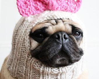 Betty Bow Dog Hat - Pug Hat