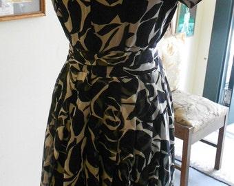 "1960's, 36"" bust, black and white graphic rose print chiffon dress"