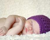 Crochet Newsboy Hat, Baby Crochet Beanie, Newborn Hat, Purple Newscap, MADE TO ORDER