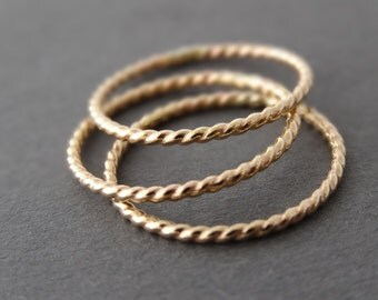 SALE Gold Rings twist rings set of three 14 k Gold Filled Rings Gold Jewelry thin gold rings