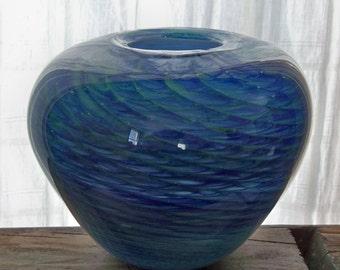 Ocean Waves Hand Blown Art Glass Bowl