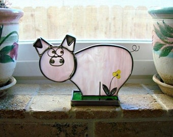 Pink Pig - Stained Glass Standing Pig in Green Grass with a Flower