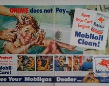 1948 Mobilgas Advertisement - Mobil, Vintage Ads, Paper Ephmera, Bathroom Wall Decor, Print Ads, Magazine Advertisement