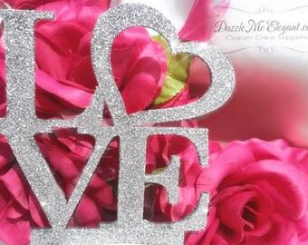 Glitter Cake Topper - Glitter Love Cake Topper - Heart Cake Topper - Bride and Groom - Custom Wedding Cake Topper