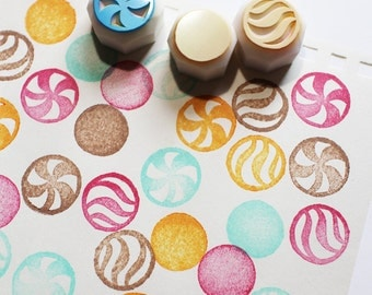 glass marble stamps. hand carved rubber stamp. marble stamps. classic children toys. card making. scrapbooking. gift wrapping. set of 3