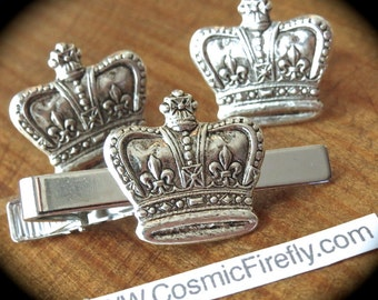 Silver Crown Cufflinks Set Silver Cufflinks Men's Cufflinks & Crown Tie Clip Vintage Inspired Style Royal Victorian Steampunk Cuff Links