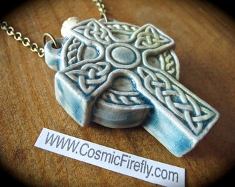 Valentines Day Sale Celtic Cross Necklace Ceramic Raku Bottle Necklace Irish Theme Blue Cross Antiqued Brass Rolo Chain Handcrafted Jewelry