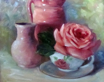 Original Still Life Painting Pink Rose,Pink Pitcher, Pink Vase 12x12 Canvas Oil Painting by Cheri Wollenberg