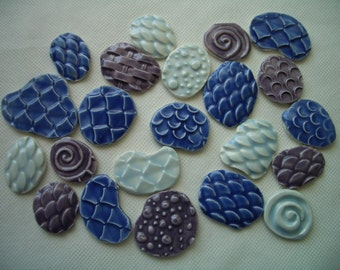 22TH - 22 pc BLUES - THIN for Glass Circles - Ceramic Mosaic Tile Set