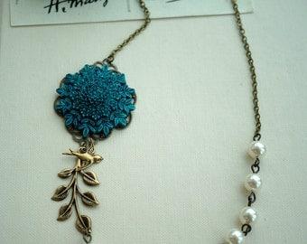 A Blue Floral Rose Flower, Brass Leaf, Bird Necklace. Wedding Bridal. Vintage Inspired. Bridesmaids Necklace Gifts.