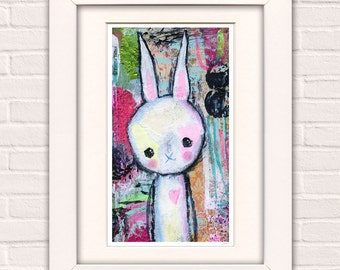 Wall Art for girls room- girls room decor- whimsical art- bunny print