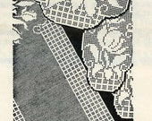 Vintage Crochet PATTERN 7498 Chair Set & Scarf Spring Tulips 1960s stitches Instant PDF download