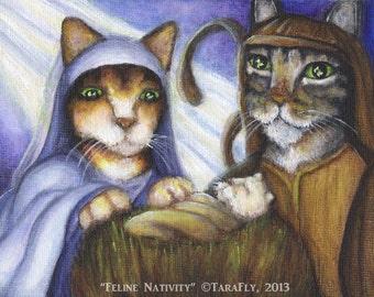Nativity Cat Art, Mary Joseph and Baby Jesus in Manger 5x7 Art Print
