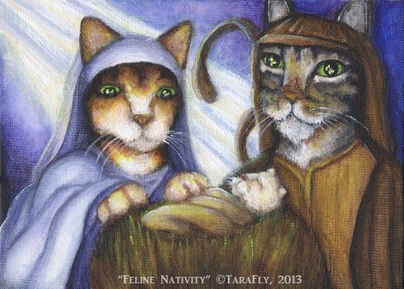Feline Nativity 5x7 Fine Art Print