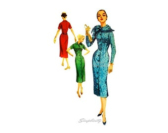 1950s Wiggle Dress Pattern Simplicity 1711 Bust 34 Button front, Long or Short Sleeve, Scarf, Coat Dress Vintage Sewing Pattern Uncut